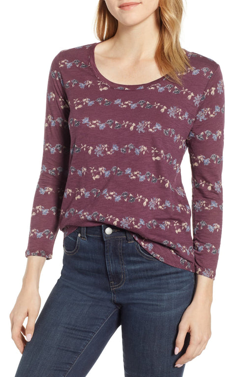 Lucky Brand Women's Flower-Stripe T-Shirt Purple Multi S