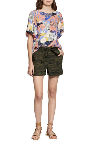 Lucky Brand Tie Front Linen Shorts Deep Depths