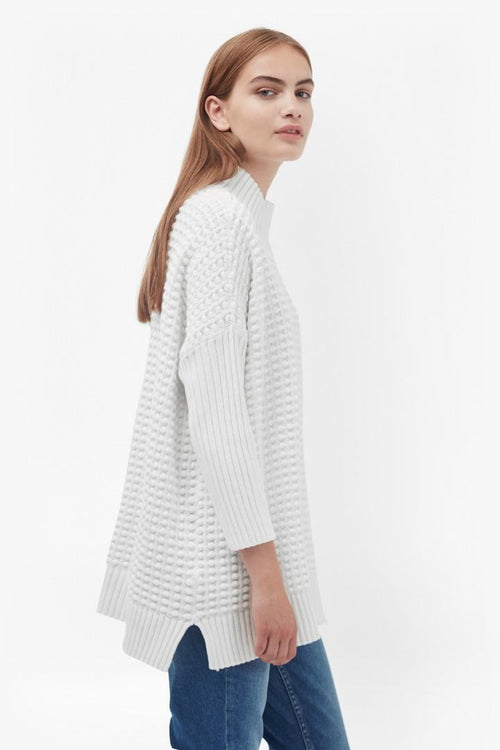 French Connection Cotton Mozart Popcorn Sweater White M