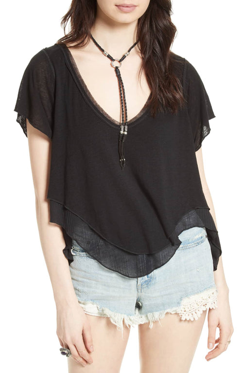 Free People Cookie Layered-Look T-Shirt Black S