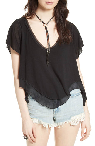 Free People Juniors Aster High-Low Henley Top Black