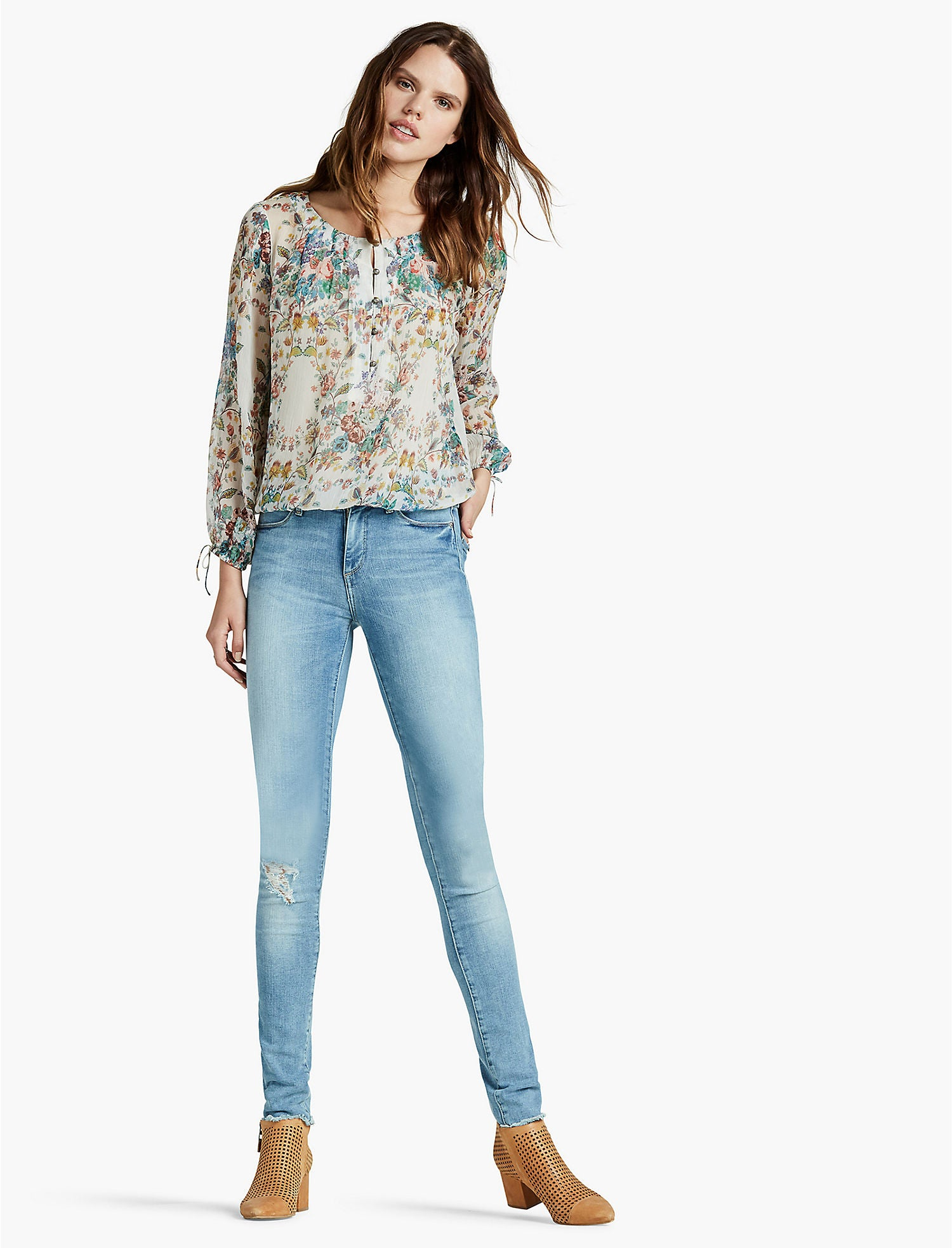 Lucky Brand Printed Peasant Top Natural Multi S
