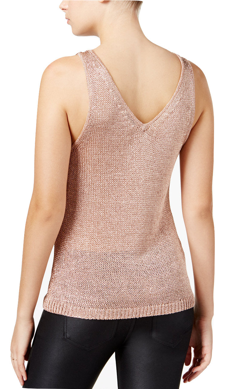 Bar III Metallic Sweater Tank Top Rose Gold S - Gear Relapse