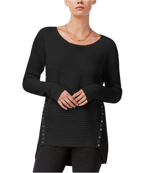 Bar III Asymmetrical Grommet-Detail Sweater Deep Black