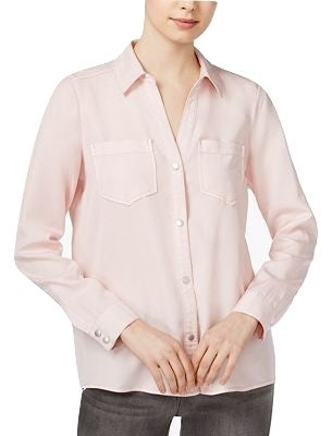 Maison Jules Long-Sleeve Linen Shirt Pink Cloud M