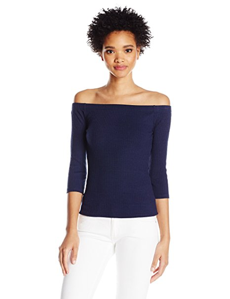 GUESS Women's Gibson Off-The-Shoulder Top Peacoat L