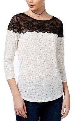Maison Jules Polka-Dot Lace-Yoke Top Black Combo