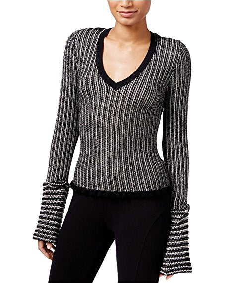RACHEL Rachel Roy Women's Striped Lantern-Sleeve Sweater Canvas Black XS