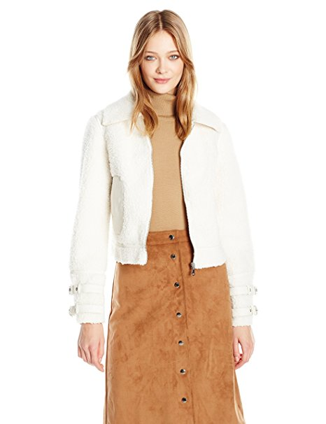 GUESS Nell Faux-Fur Contrast Jacket Macadamia
