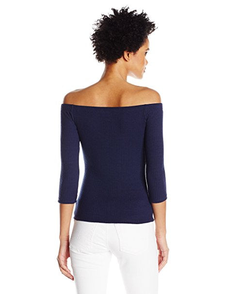 GUESS Gibson Off-The-Shoulder Top Peacoat L