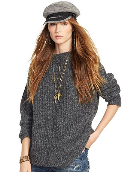 Denim & Supply Ralph Lauren Rib-Knit Crewneck Tunic Charcoal S - Gear Relapse