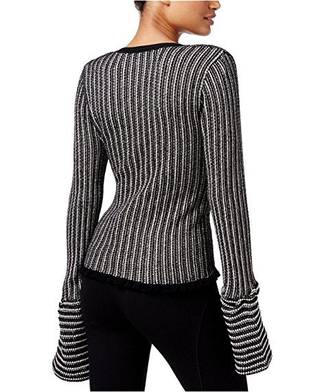RACHEL Rachel Roy Striped Lantern-Sleeve Sweater Canvasblack XS