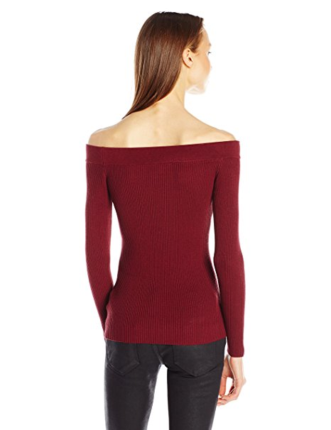 GUESS Women's Off The Shoulder Rib Sweater Zinfandel