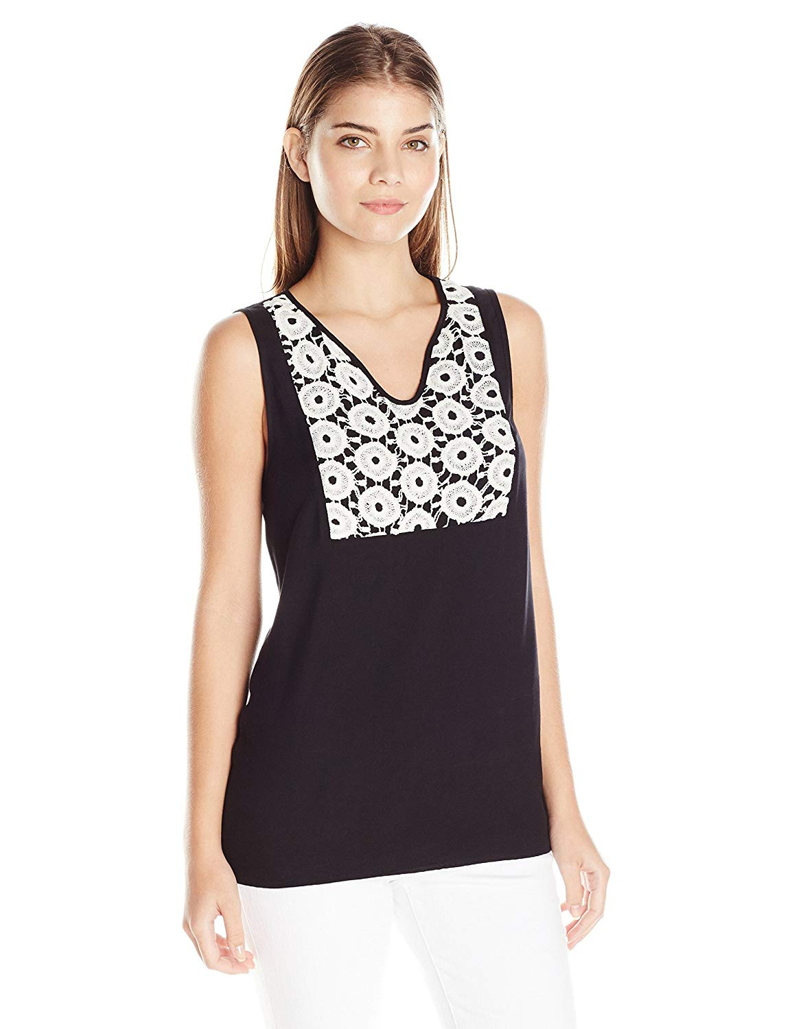 Kensie Women's Crochet Twill Tank Top Black M