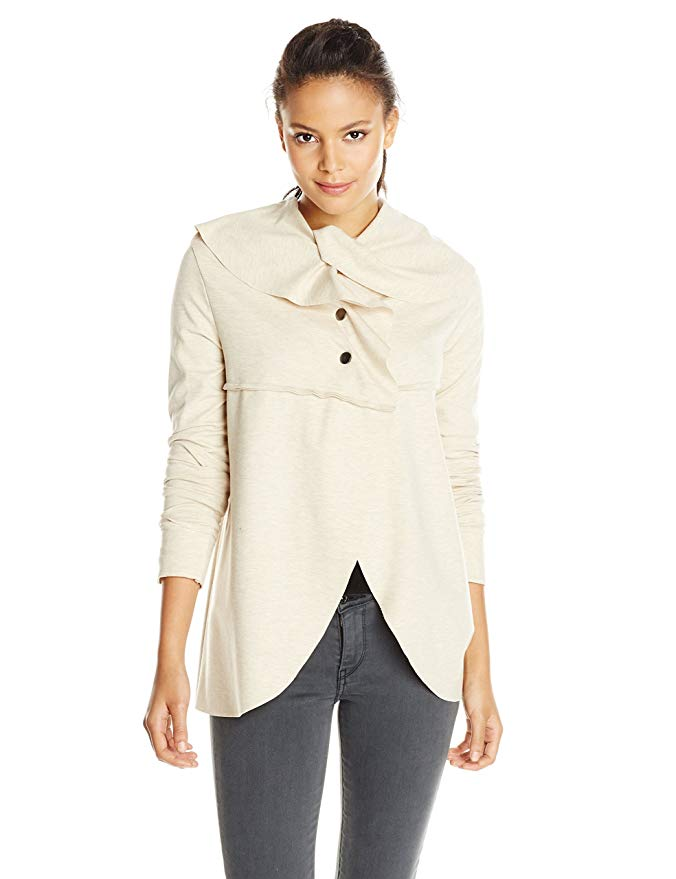 Kensie Women's Draped Heathered Quicksand Jacket S