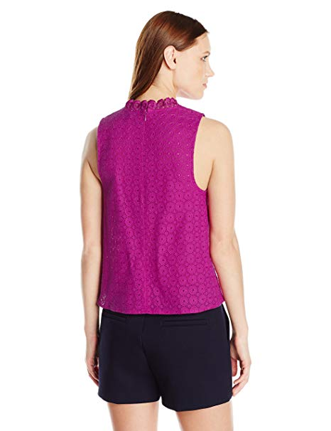 Kensie Women's High-Neck Eyelet Sleeveless Top Bright Purple L