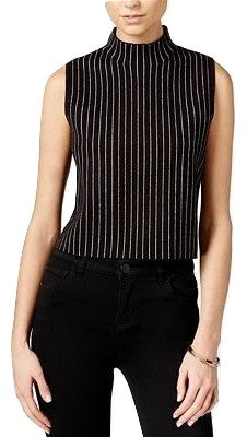 Bar III Striped Sleeveless Sweater Top Black Combo - Gear Relapse