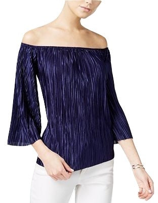 Bar III Pleated Off-The-Shoulder Top Navy