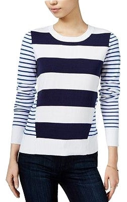 Maison Jules Mixed Stripe Sweater Bright White Combo XS