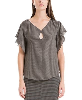 Max Studio London Keyhole Flutter-Sleeve Top