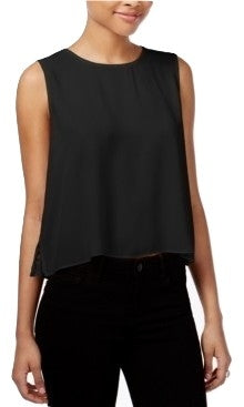 RACHEL Rachel Roy Pleated Lace-Back Top Black S