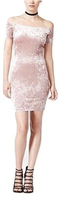 Bar III Crushed Velvet Off-The Shoulder Dress Ballet Pink XS - Gear Relapse