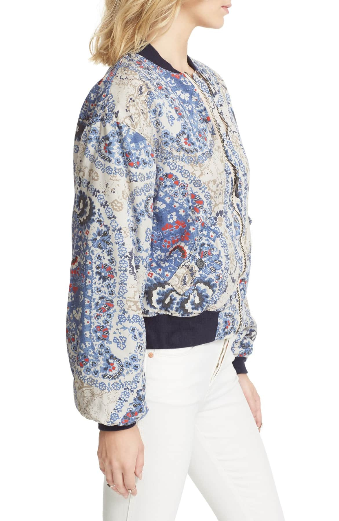 Free People Daytrip Printed Bomber Jacket Navy L - Gear Relapse