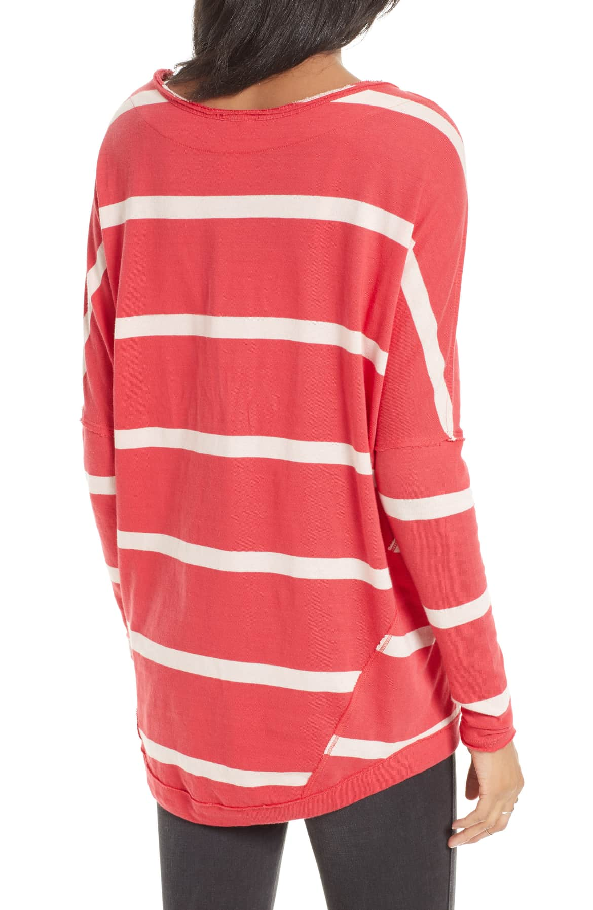 Free People Upstate Striped Long Sleeve Top Red