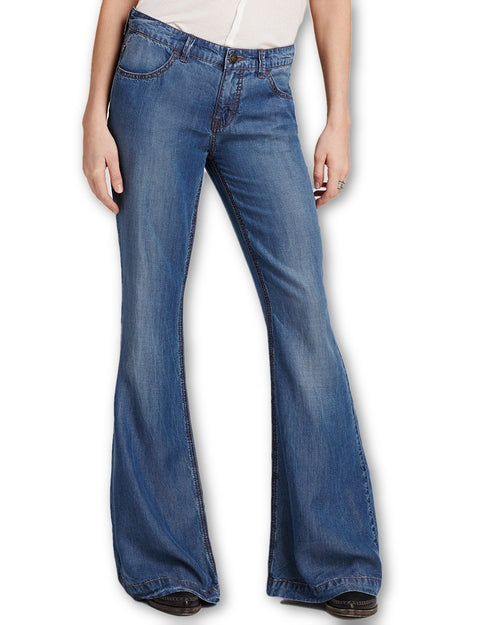 Free People Denim Tencel Flare Medium Wash 28