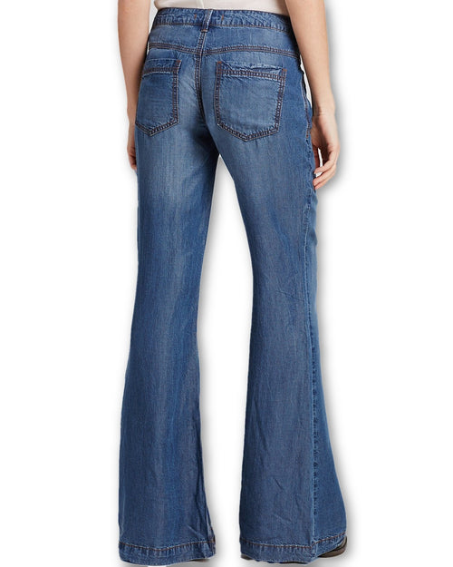 Free People Denim Tencel Flare Medium Wash 28 - Gear Relapse