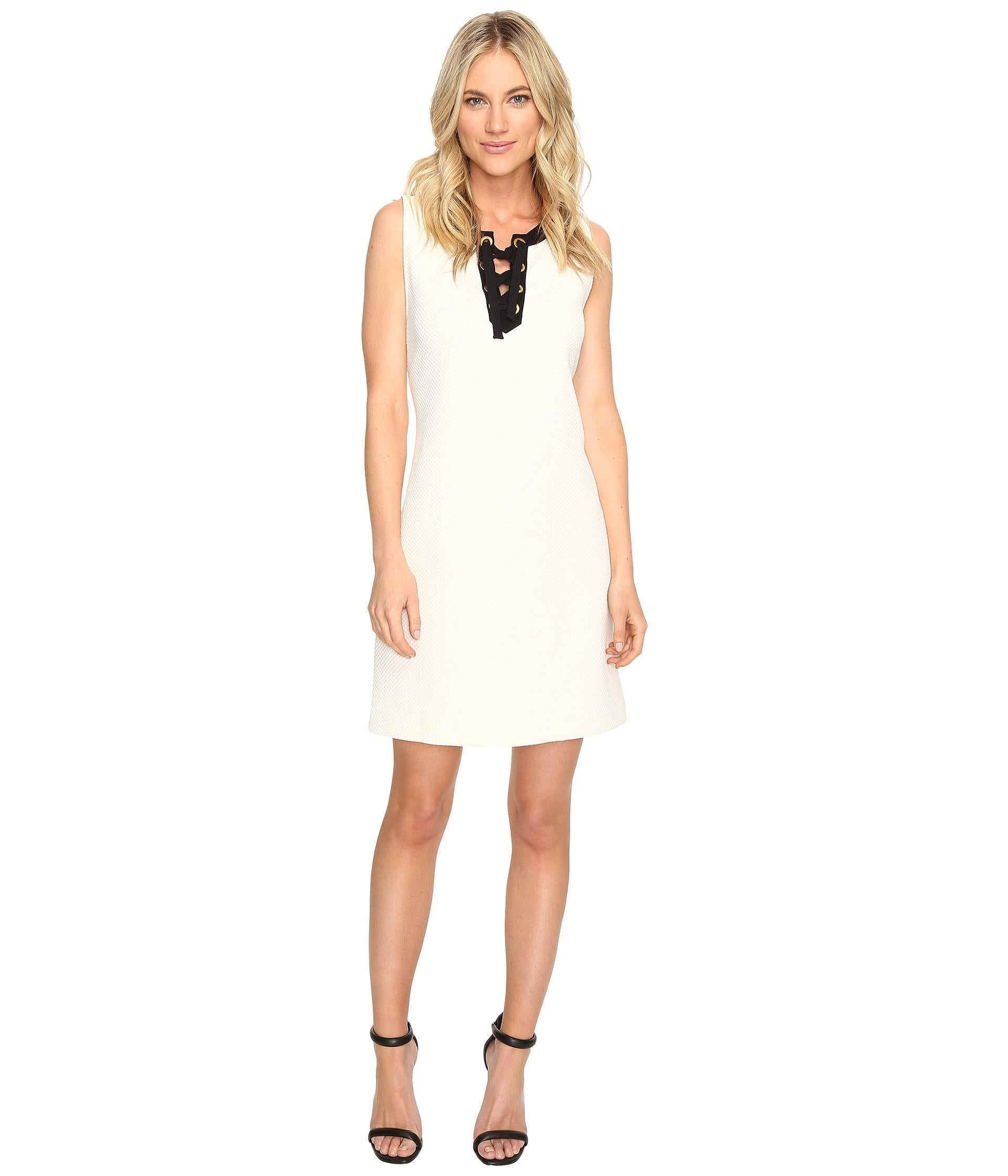 kensie Women's Colorblocked Lace-Up Dress Bone Multi M