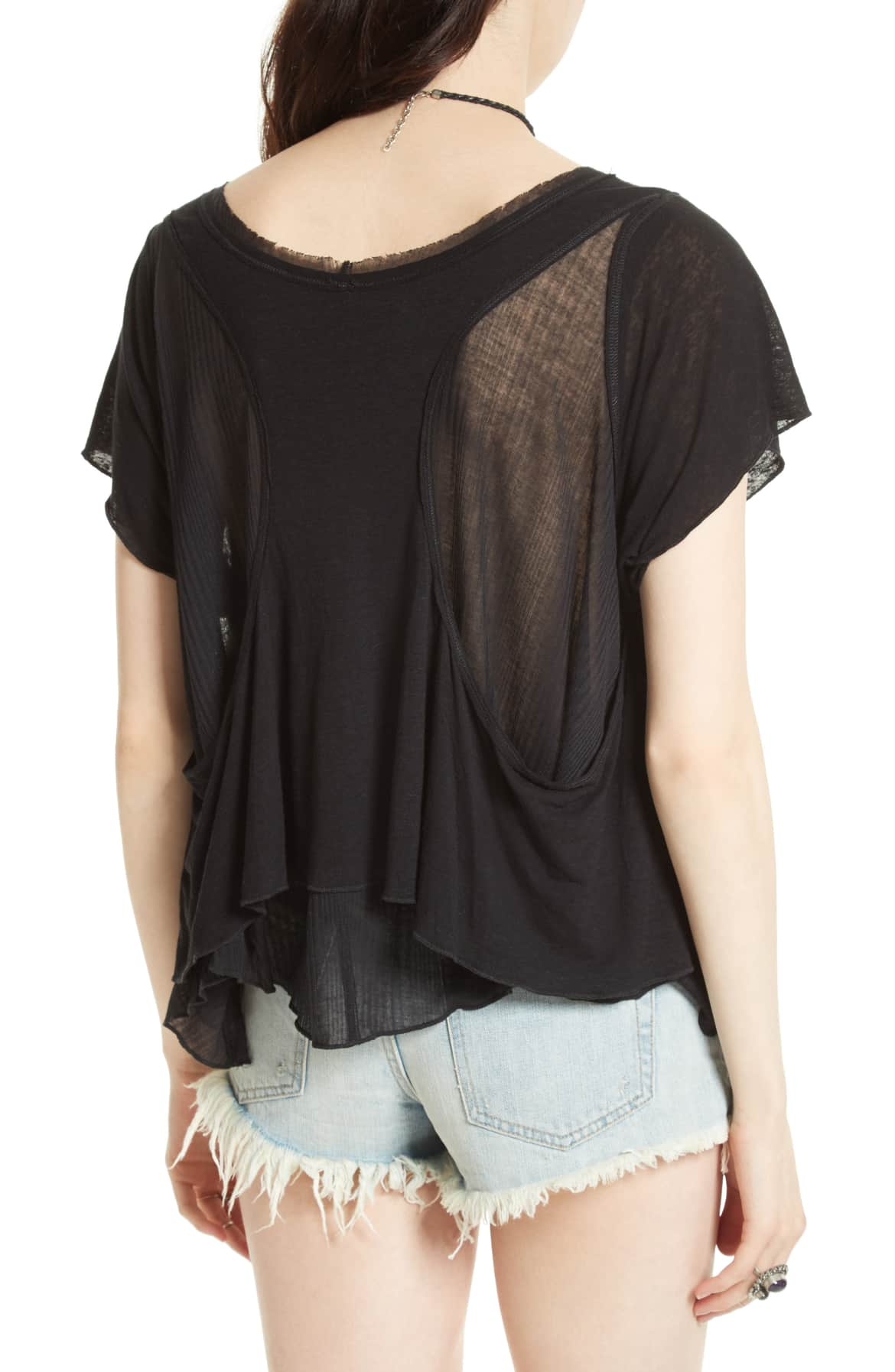 Free People Cookie Layered-Look T-Shirt Black S - Gear Relapse