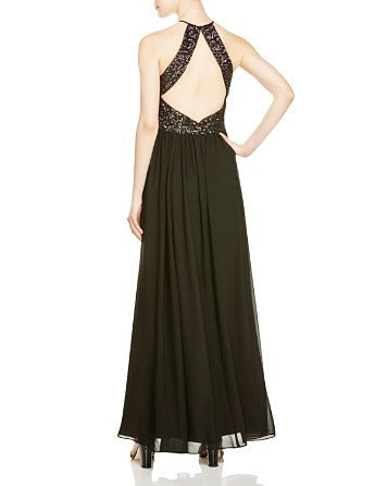 Vera Wang Embellished Bodice Gown Black