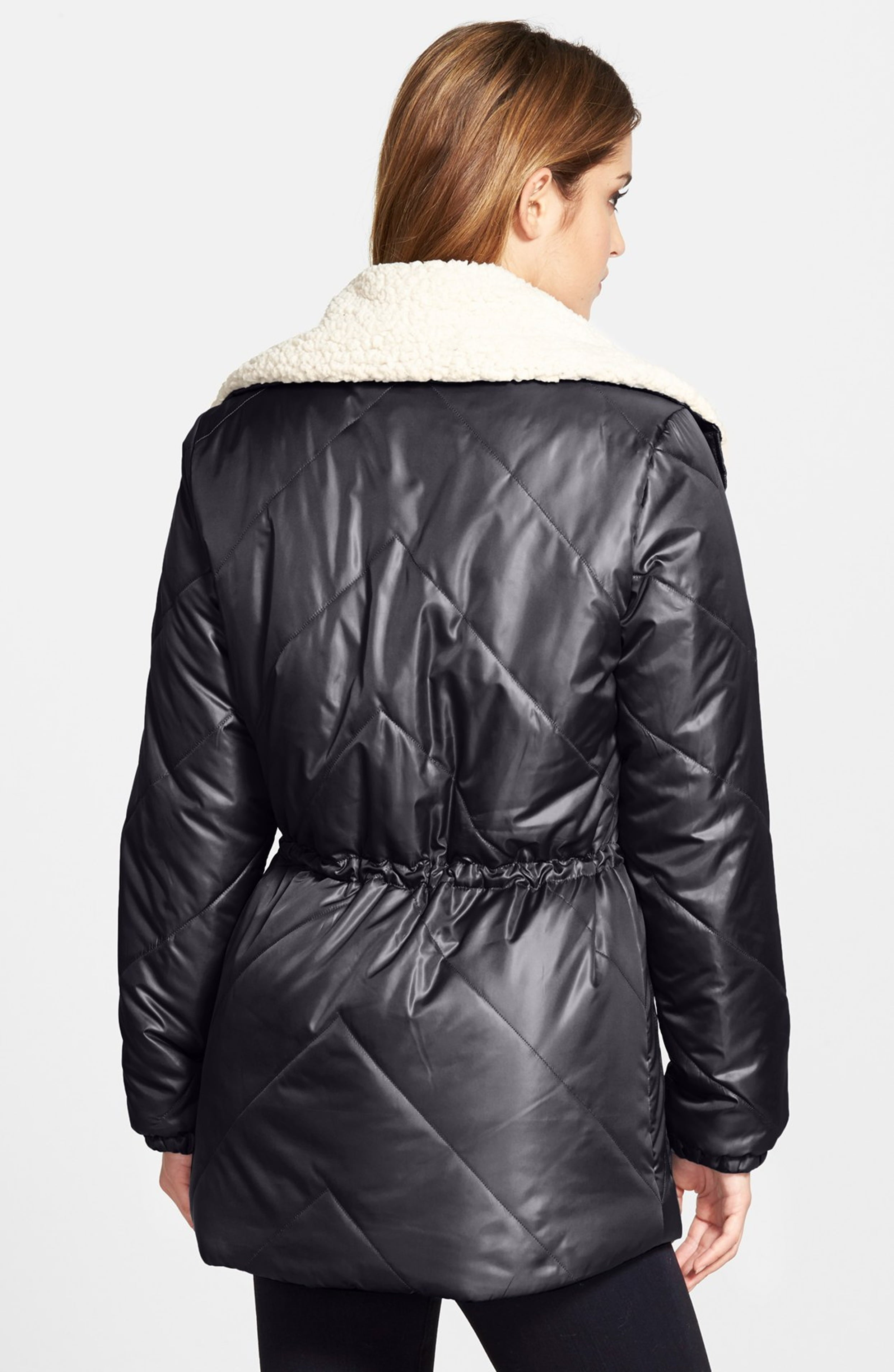 Kenneth Cole Faux Shearling Trim Puffer Coat