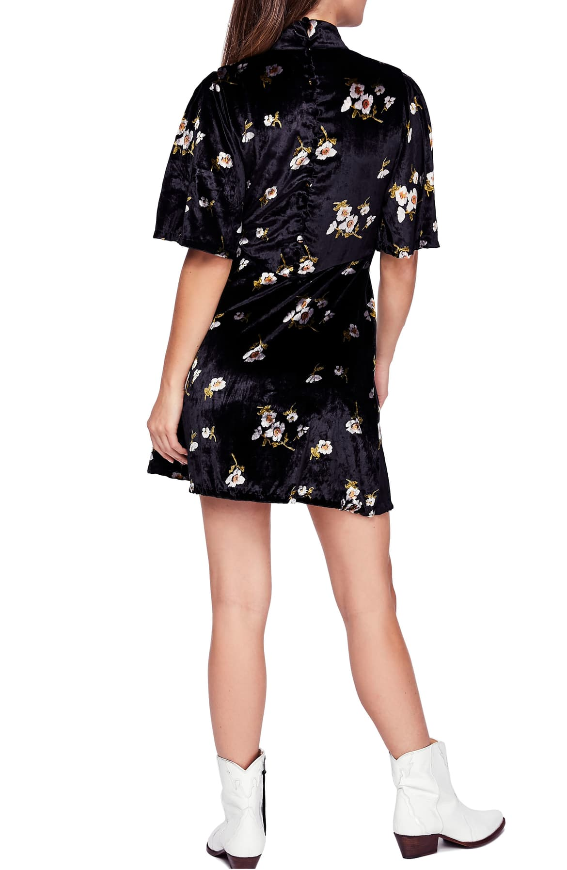 Free People Velvet Floral-Print Dress Black 4 - Gear Relapse