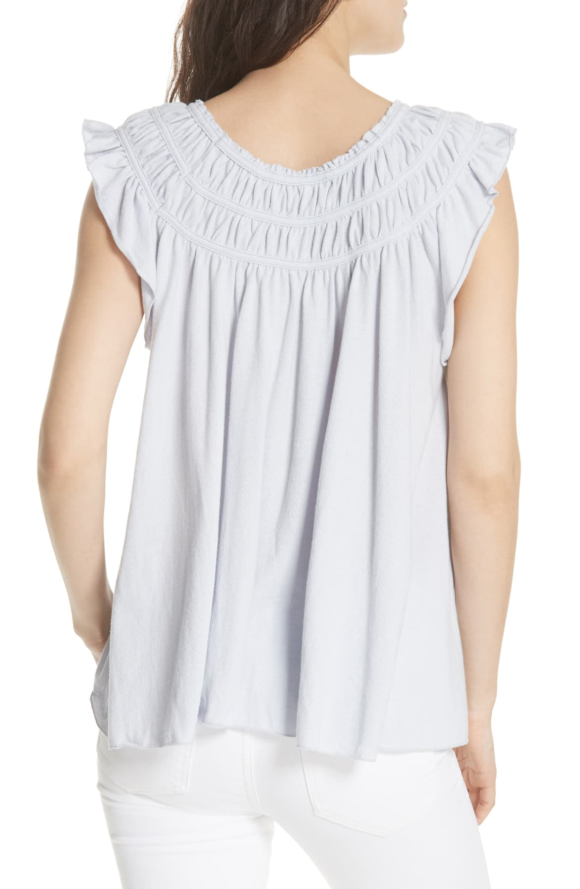Free People Coconut Ruffled T-Shirt Pastel Blue M - Gear Relapse