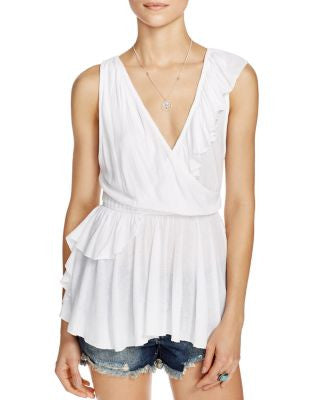 Free People Float Away Draped Peplum Top Ivory M