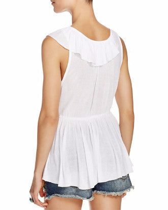 Free People Float Away Draped Peplum Top Ivory M - Gear Relapse