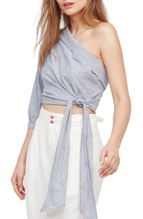 Free People Get Down Striped One-Shoulder Blue 12