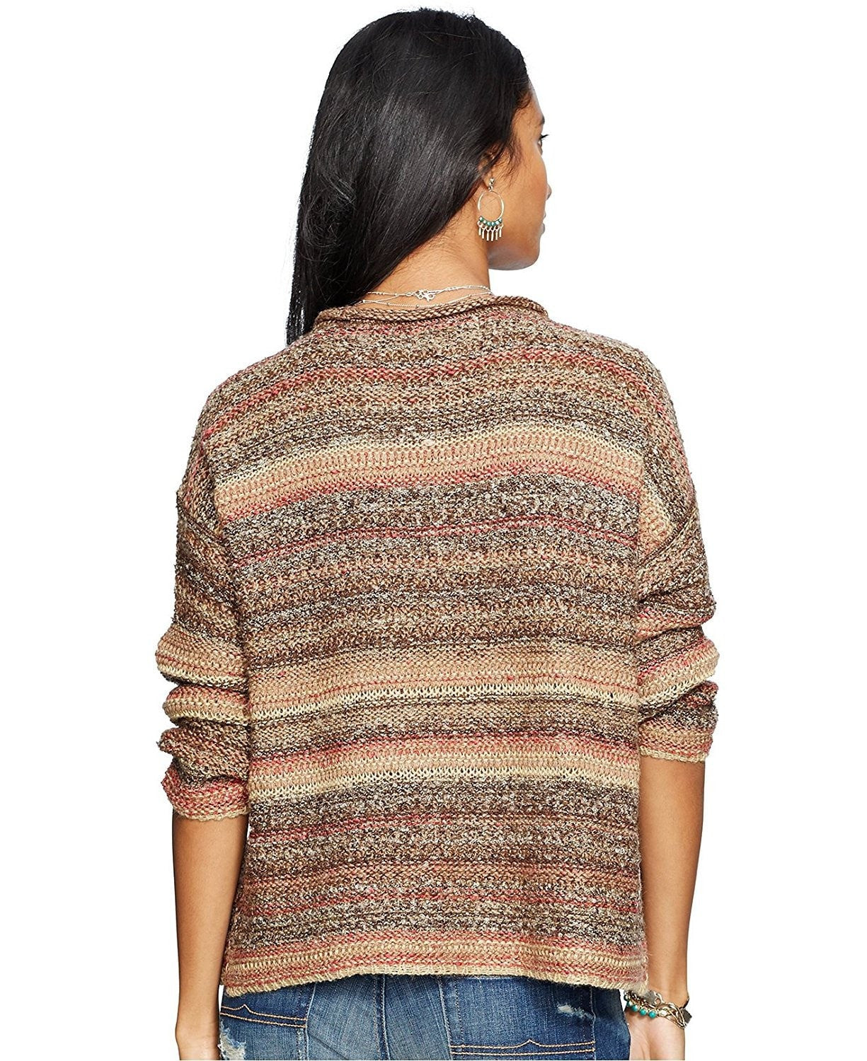 Denim & Supply Ralph Lauren Striped Crewneck Sweater Brown Multi M