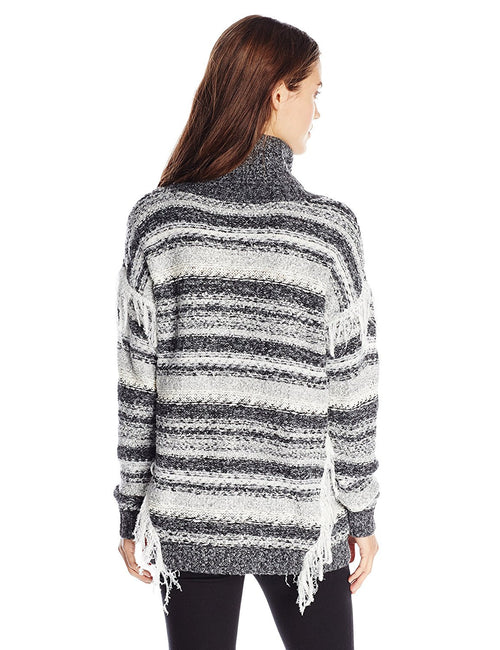 Kensie Women's Cozy Multi-Yarn Long Sleeve Sweater Gray Combo