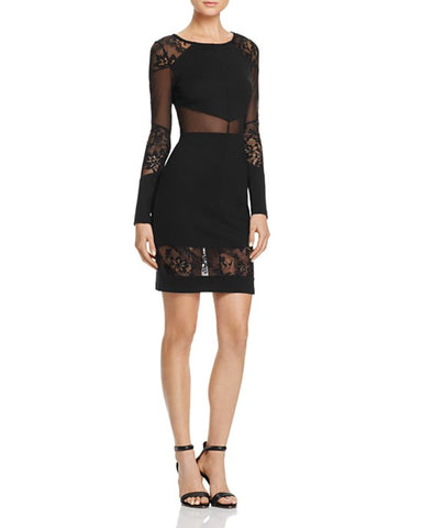 Theory Aronella Lace-Yoke Crepe Dress Black