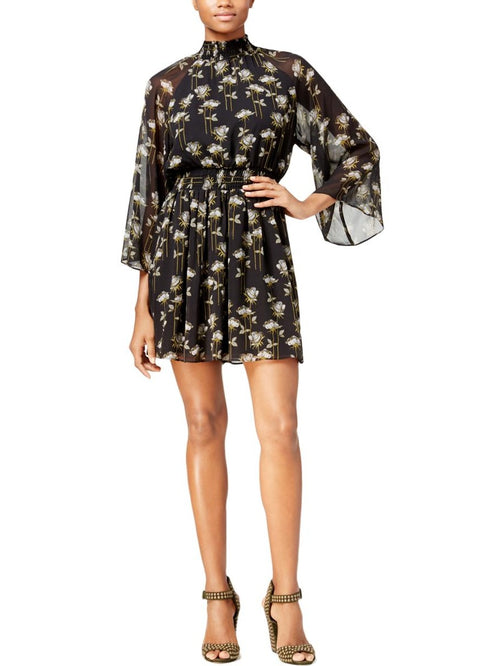 RACHEL Rachel Roy Women's Printed Smocked Dress Black Combo L