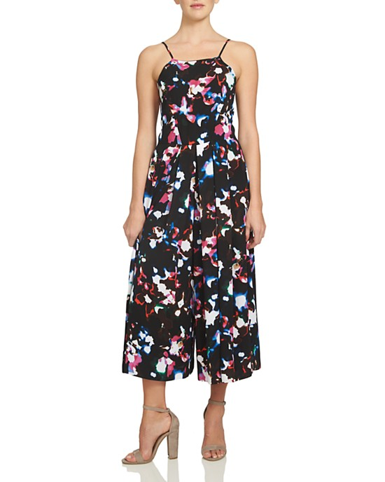 1.STATE Abstract Floral Pleated Wide Leg Jumpsuit Rich Black 0 - Gear Relapse