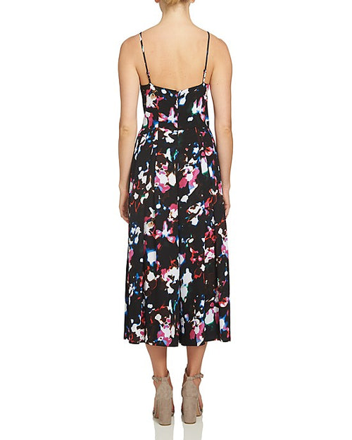 1.STATE Abstract Floral Pleated Wide Leg Jumpsuit Rich Black 0