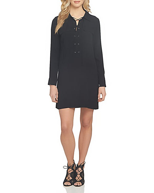 1.STATE Lace-Up Classic Long Sleeve Shirtdress