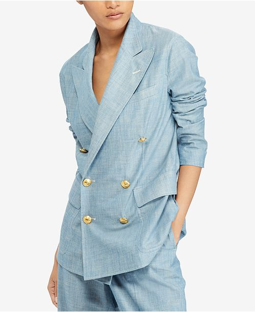 Polo Ralph Lauren Women's Chambray Cotton Blazer Blue 4