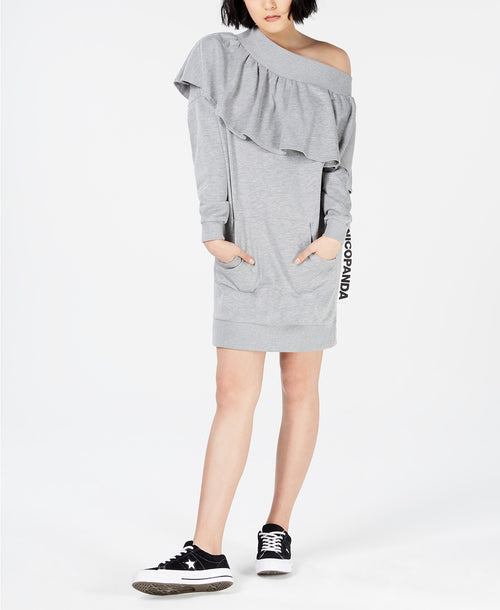 NICOPANDA Off-The-Shoulder Sweatshirt Dress Heather Grey S