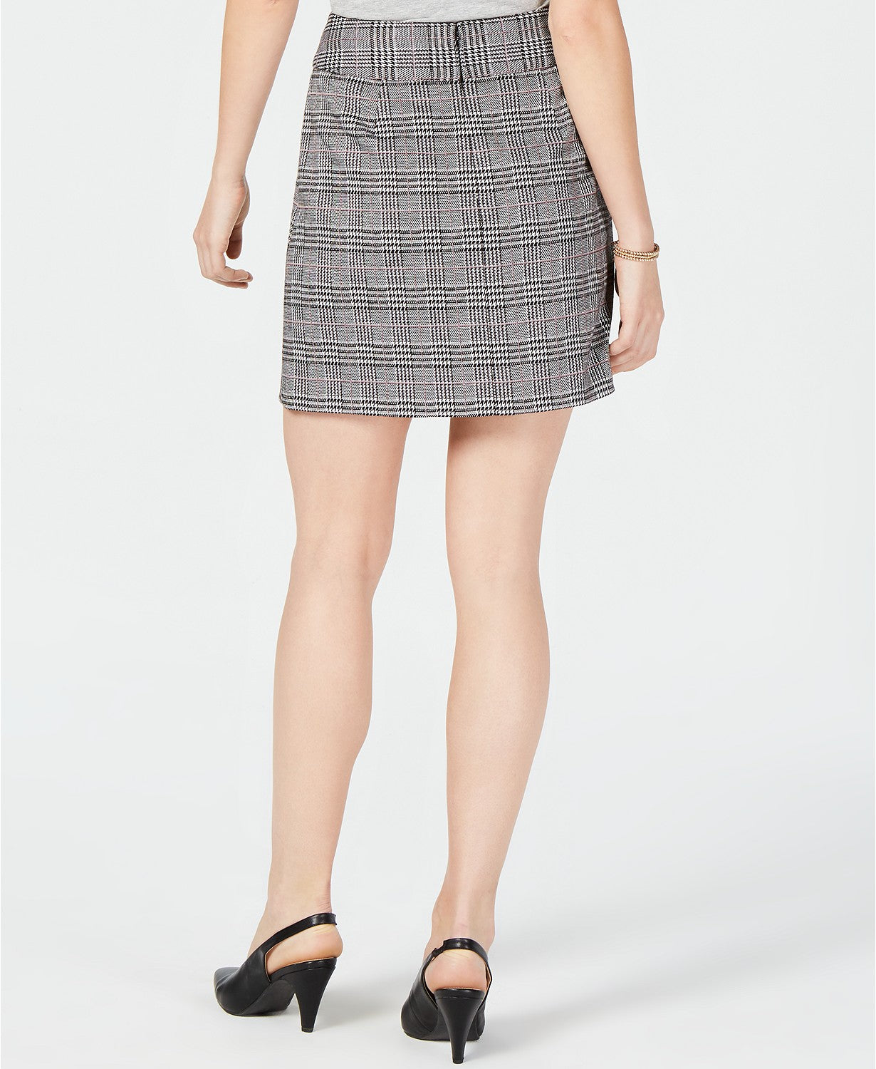 Maison Jules Menswear Plaid Mini Skirt Black Combo XS
