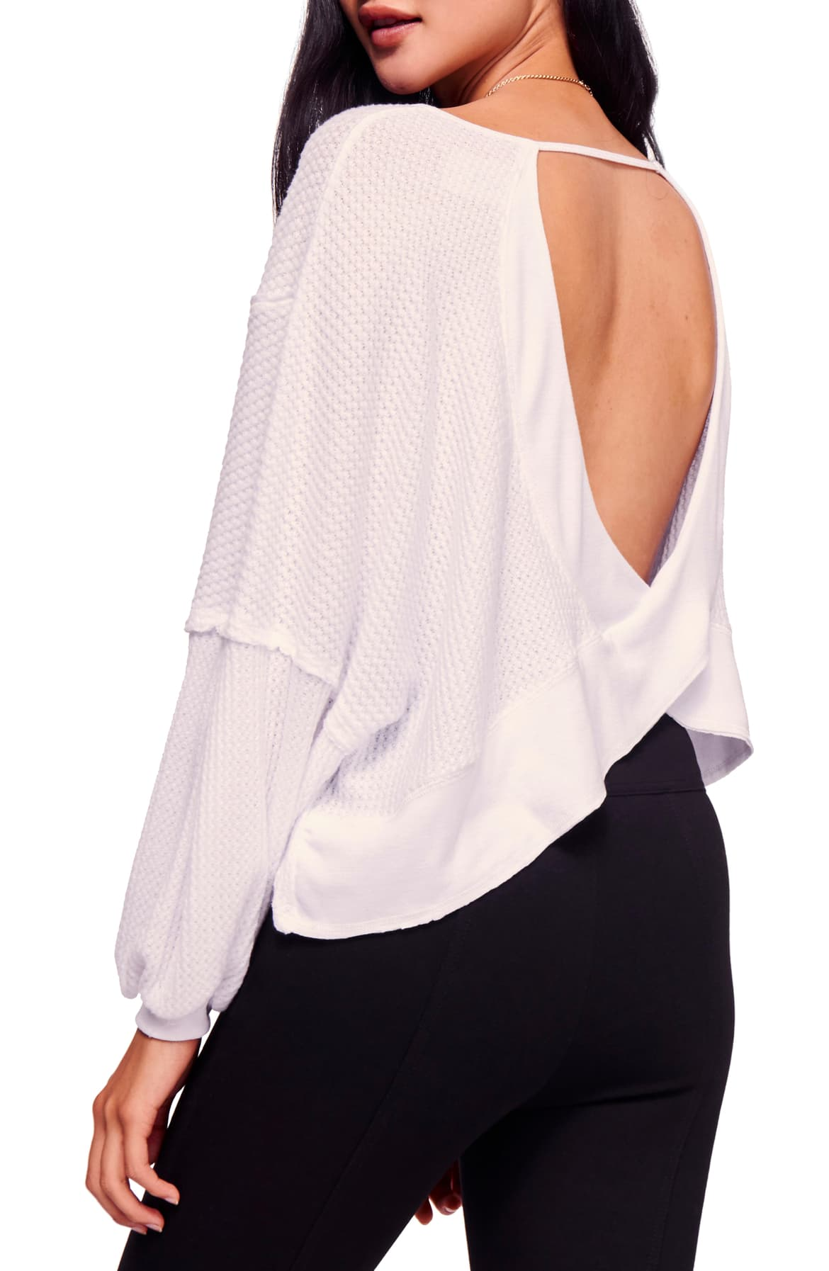 Free People Love Me Open-Back Thermal Top White - Gear Relapse